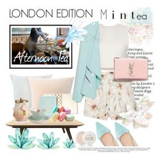 """Tea in London"" by fashionstudiolondon ❤ liked on Polyvore featuring Moooi, Ruban, Kate Spade, Haute Hippie, ZALORA, Yves Saint Laurent, Fresh, Illume and Royal Albert"