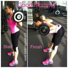 Good Mornings are one of my fav. Exercises. I like to finish my leg days with these I'm using a 75lb barbell todayxoxo Follow @Mathilde Lind Lind Lind Lind G. Lopez on Instagram for daily fitness & nutrition tips:-)