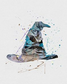 Harry Potter Sorting Hat Watercolor Art - VividEditions