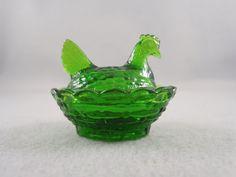 Dengenhart Glass Hens on the Nest  Dark Green