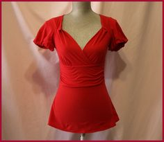 Anthropologie Blouse Size XS By Deletta Red Short Sleeves V Neck Casual Ocassion