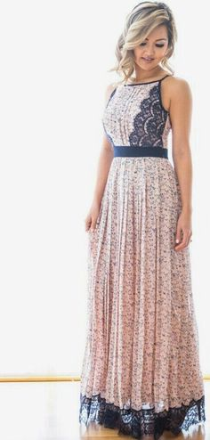 Stitch Fix Spring Fashion! Long boho maxi dress, peach with navy detail. Lace trim. Beautiful to wear as a guest to a spring or summer wedding or for a date night. wedding guest dresses #stitchfix