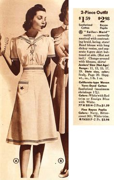 Sailor Maid ensemble from Sears & Roebuck, Spring 1941 Vintage Outfits, 1940s Outfits, 1940s Dresses, Vintage Dresses, 1940s Fashion, Vintage Fashion, Fashion Women, Nautical Fashion, Nautical Style
