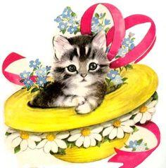 Kitty in an Easter Bonnet<3