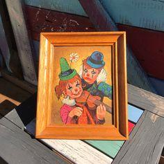 1960's Vintage Creepy Big Eyes Clown Harlequin Winde Fine Prints by Ron Lee #332   Clowns   Wall Hanging   Violin   Original Frame   8 x 10 by ShowMeShabby on Etsy