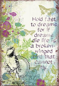 Dreams:  Hold fast to dreams  For if dreams die  Life is a broken-winged bird  That cannot fly.  Hold fast to dreams  For when dreams go  Life is a barren field  Frozen with snow.    ~ Langston Hughes ~