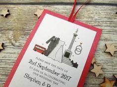 London Trafalgar Square Wedding Save the Date Luggage Tags