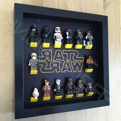 Star Wars Black Frame Display With Mini figures Star Wars Decor, Decoration Star Wars, Lego Minifigure Display, Lego Display, Frame Display, Star Wars Kids, Lego Star Wars, Sala Geek, Boy Room