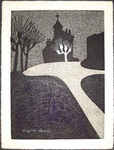 Chapel France (A) by Saito Kiyoshi (1960) #woodblock