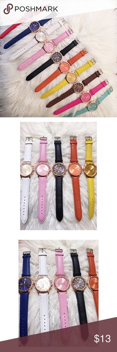 """Leather Color Band Watch Details  Roman numeral fashion watch and a matte colored band  In colors: Mint, Black, Red, Pink, Brown, Orange, Yellow, White, Blue, and Magenta  Three small sub-dials are just for decoration, not functional       Size + Fit  One size fits most  Width: 2""""  Diameter: 3.9"""" Accessories Watches"""