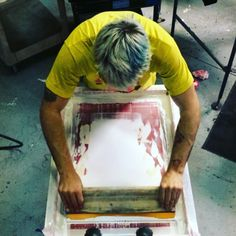 Keeping it real today. We never lose track of the basic fundamentals of screenprinting. Manual press printing keeps automatic operators #humble