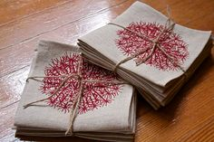 Cocktail Napkins on 100% Linen cloth with a Bright Pink or Red  Dandelion Design. Hostess gift $24