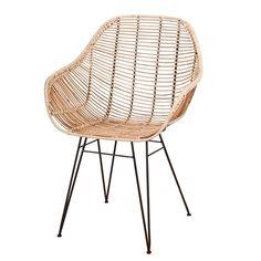 Design-Armlehnstuhl Rattan natur