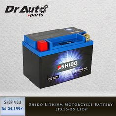 SHIDO LION battery are much lighter than a conventional lead-acid battery. Shop Now @ DrAuto Website #BikeBatteries #MotorcycleBatteries #Bikes #Motorcycles #Accessories #MotorcycleAccessories #BikeAccessories #BikeParts #MotrocycleParts.