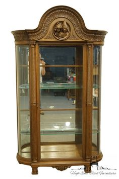 Antique Vintage Jacobean English Revival Exquisite Carved Mahogany Display Curio Cabinet - High End Used Furniture Old Furniture, Unique Furniture, Rustic Furniture, Outdoor Furniture, Long Driveways, Large Truck, Dining Arm Chair, Dining Room, Jacobean