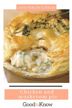 This chicken and mushroom pie recipe is the ultimate comfort food. Its made with double cream, white wine and thyme is a family favourite all year long Chicken Pie Recipe Easy, Easy Pie Recipes, Chicken Recipes, Cooking Recipes, Savory Pie Recipe, Puff And Pie, Chicken And Mushroom Pie, It Goes On, Yum Yum Chicken