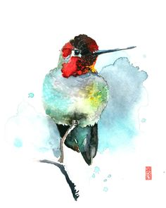 Hummingbird in Turquoise Watercolor Painting Fine Art Giclee Print / Bird Painting / Animal Art / Wildlife Paintings Watercolor Animals, Watercolor Paintings, Original Paintings, Wildlife Paintings, Art Reproductions, Large Prints, Fine Art Paper, Giclee Print, Hummingbird