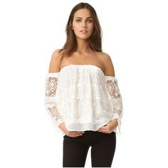 LIV Mantilla Off Shoulder Top ($150) ❤ liked on Polyvore featuring tops, blouses, white, crinkle blouse, white off the shoulder top, bell sleeve blouse, bell sleeve tops and off the shoulder tops
