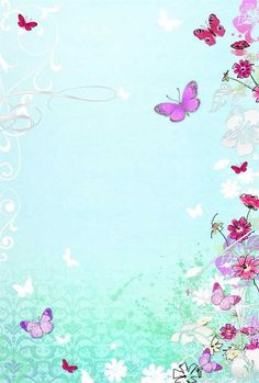 Butterflies on Blue Flowery Wallpaper, Butterfly Wallpaper, Butterfly Art, Butterflies, Boarder Designs, Page Borders Design, Borders For Paper, Borders And Frames, Cute Wallpapers