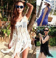 f5d9518505 Sexy Women Hollow Crochet Beach Wear Swimwear Bikini Cover Up Shirt Dress