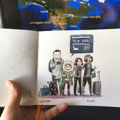 "2,127 Gostos, 21 Comentários - Fawn Veerasunthorn (@fawnv) no Instagram: ""LAX>>JFK. It's actually 64 and sunny, but I always came prepared. #travelogue #doodle #nyc"""