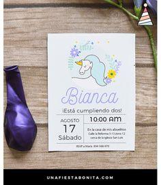 Plantila para imprimir invitación para fiestas de cumpleaños #unicornio