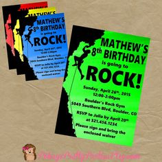 Rock Wall Climbing Birthday Party Invitation Invite - Any COLOR - Digital OR Printed Personalized Invitation 7th Birthday Party Ideas, 20th Birthday, Birthday Fun, Birthday Party Invitations, Birthday Celebration, Birthday Cake, Rock Climbing Party, Party Rock, Personalized Invitations