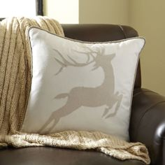Bethany Pillow Cover   This unique reindeer pillow will be cherished all winter long. Made of a cotton-felt blend, this pillow cover adds a bright and cheerful feel to any home.