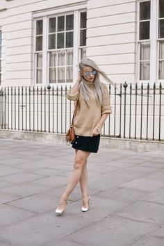 London style wearing ASOS Caramel Knit, Alexa for AG Jeans Navy Skirt, Nude Gianvito Rossi Heels, Ray Bans, Chloe Faye small caramel, Larsson and Jennings Watch, Mac Rebel Lipstick, Rose Gold Shellac at DryBy London, Pandora Silver Ring with white hair, shot by Amber Rose Photo