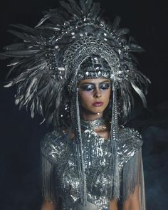 READY TO SHIP Fem fatale silver feather beaded headpiece