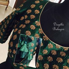 Tassels at the back and the beautifully embroidered doli on the hands make it super royal! Choli Designs, Kurta Designs, Saree Blouse Designs, Blouse Patterns, Blouse Styles, Crazy Quilting, South Indian Blouse Designs, Mirror Work Blouse, Hand Embroidery