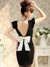 Vestido solapa lazo espalda abierta-negro