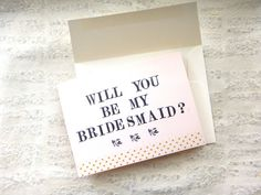 Floral Hand Stamped Be My Bridesmaid Card Maid of by EmeraldCut