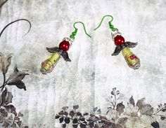 Christmas angels, lampwork glass skirt, red shimmer ball head, angel wings & diamante halo