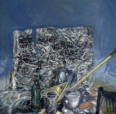 Natura Morta con giornale 1974 Tempera e Acrilico su tela 70x70 cm