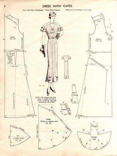 DIY Vintage Dress with Capes - FREE Sewing Draft Pattern