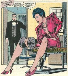 Lois Lane pumping iron while Clark makes himself pretty. The Man of Steel issue Vintage Pop Art, Weird Vintage, Vintage Cartoon, Vintage Comics, Comic Books Art, Comic Art, Bd Pop Art, Superman Girlfriend, Dibujos Pin Up