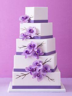 elegant square wedding cakes | Purple Staggered Square Wedding Cakes