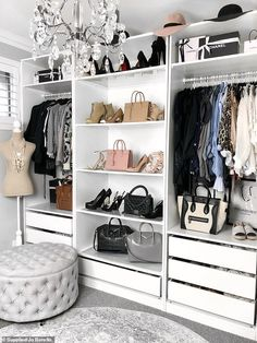 A young woman behind an incredible 'Hamptons-style home' in Perth has revealed how she converted her spare room into her 'dream' walk-in wardrobe on a budget - and how you can too. Spare Bedroom Dressing Room Ideas, Spare Room Walk In Closet, Bedroom Turned Closet, Walk In Closet Design, Dressing Room Design, Master Bedroom Closet, Closet Designs, Dressing Rooms, Wardrobe Internal Design
