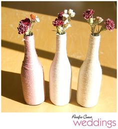 yarn wrapped wine bottles how-to via Pacific Coast Weddings.