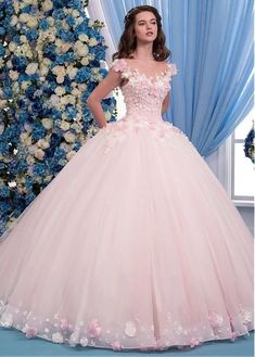 Wedding Dresses Simple, Exquisite Tulle Sheer Jewel Neckline Ball Gown Wedding D. Wedding Dresses Simple, Exquisite Tulle Sheer Jewel Neckline Ball Gown Wedding Dress With Lace Appliques & Flowers & Beadings Exquis. Sweet 16 Dresses, Pretty Dresses, Beautiful Dresses, Quince Dresses, Formal Dresses, Sexy Dresses, Elegant Dresses, 15 Dresses Pink, Summer Dresses