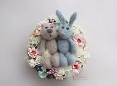 Gehäkelter Hase und Bär aus Mohair & Seide