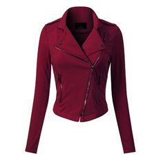 Vegan Leather Jacket, Moto Jacket, Coats For Women, Autumn Fashion, Women's Fashion, Fall Outfits, Zip Ups, Long Sleeve, Goth Clothes