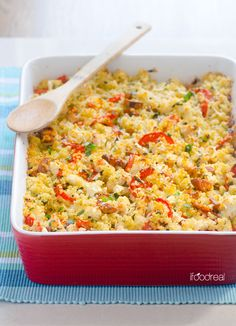 Cauliflower, Tomato and Chicken Sausage Quinoa Gratin -- Healthy gluten free casserole that is chock full of veggies and the crispy Parmesan quinoa crust will win anyone over.