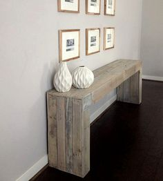 Reclaimed Wood Console Table | This reclaimed wood console table has a relaxed yet modern, on... | Ottomans