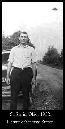 St. Paris, Ohio-  George Sutton near noon, 05/1932. Note the date on the  car's plate in the photo. The owner of the photo album says there were no electric street lights along this road in those days. The dark object seen to Sutton's  left has never been explained.