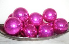 hot pink Christmas ornaments - vintage glass balls with crackly mottled patina - shabby cottage chic - ornate hollywood regency set of 12 by shesitsbytheseashore on Etsy