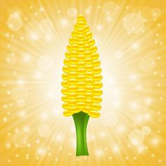 Fresh Cob Corn on Sun Rays Background #Clipart #Corn #Vegetable #Vector http://kozzi.tv/SPi6N | Royalty Free Stock Images for just $1