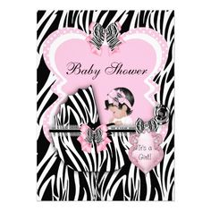 Baby Shower Cute Baby Girl Pink Zebra Spots Announcements Personalized Invitations by zizzago.com