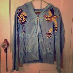 Free People zip up sweater Beautiful blue free people zip up sweater with bird patchwork design Free People Sweaters Cardigans